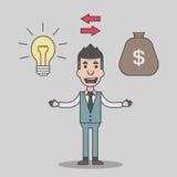 Idea del intercambio del hombre de negocios con el dinero Fotos de archivo