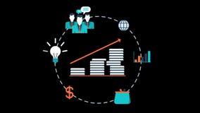 Idea del negocio para los gráficos transparentes del movimiento del vector de una animación más alta del beneficio ilustración del vector