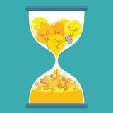 Idea del reloj de arena para el dinero Imagen de archivo libre de regalías