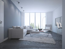 Idea del salón minimalista brillante Foto de archivo libre de regalías