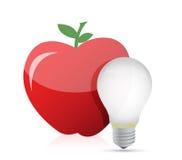 Idea dell'alimento. illustrazione della lampadina e della mela rossa Fotografia Stock