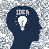 Idea dell'uomo della lampadina Immagine Stock
