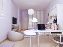 Idea della camera da letto della Provenza con area di lavoro Fotografie Stock Libere da Diritti