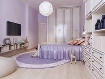Idea della camera da letto luminosa per le ragazze Fotografie Stock