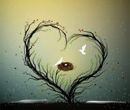 Idea della casa di famiglia, albero magico di amore della molla, albero con cuore con il nido e due uccelli bianchi dentro, casa  royalty illustrazione gratis