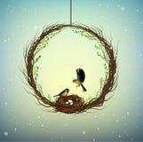 Idea della casa di famiglia, corona dei thebranches con il nido e due uccelli dentro, casa dolce, molla dentro l'idea, natura illustrazione di stock