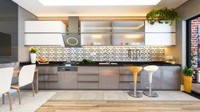 Idea della decorazione di progettazione della cucina di colore del cappuccino Fotografia Stock
