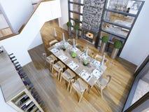Idea della sala da pranzo di stile del sottotetto Immagini Stock Libere da Diritti
