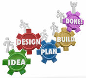 Idea Design Plan Build Done Instructions Project Job Task Comple. Idea, Design, Plan, Build and Done words on gears with workers climbing up the steps or Stock Images