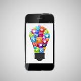 Idea determinada de la lámpara del icono de cristal del botón en concepto del teléfono móvil. Vector Imagenes de archivo