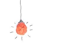Idea di concetto con l'isolato di carta della lampadina su bianco Fotografie Stock