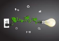 Idea di concetto di ecologia della lampadina di vettore Fotografia Stock Libera da Diritti
