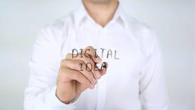Idea di Digital, concetto d'ardore della lampadina, scrittura dell'uomo sul vetro Immagine Stock Libera da Diritti