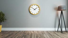 Idea di interior design del salone con il grande orologio giallo Fotografia Stock Libera da Diritti