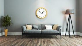 Idea di interior design del salone con il grande orologio giallo Immagine Stock Libera da Diritti