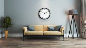 Idea di interior design del salone con l'orologio Fotografia Stock