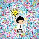 Idea di pensiero dell'uomo d'affari di progettazione del modello Immagini Stock Libere da Diritti
