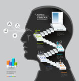 Idea di pensiero della scala dell'uomo d'affari. Fotografie Stock