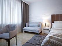 Idea di progettazione contemporanea della camera da letto Fotografie Stock Libere da Diritti