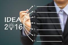 IDEA 2016 di scrittura dell'uomo d'affari Può usare per il vostro fondo di concetto di affari Fotografia Stock Libera da Diritti