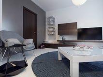 Idea di stanza contemporanea vivente Fotografie Stock Libere da Diritti