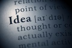 Idea. Dictionary definition of the word idea Royalty Free Stock Photo