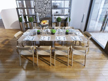 Idea of the dining room with fireplace Stock Photography