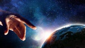 Idea of Earth creation . Mixed media Stock Photo