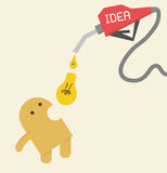 Idea, Eat light bulb to be more creative, intellig. Idea, Little yellow Eat light bulb to be more creative, intelligence or more energy Royalty Free Stock Photos