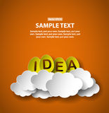 Idea eggs on clouds, paper cut style illustration with place for text Stock Photos