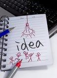 Idea en el cuaderno Fotografía de archivo