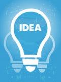 Idea en símbolo del bulbo con el fondo azul excesivo del grunge Fotografía de archivo libre de regalías