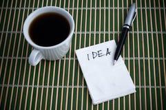 Idea en una servilleta Imagen de archivo libre de regalías