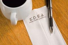 Idea en una servilleta Foto de archivo