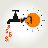 Idea faucet of money Royalty Free Stock Image