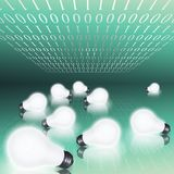 Idea field. Binary code and field of lit bulbs Stock Images