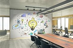 Idea and finance concept. Meeting room interior with business sketch on whiteboard. Idea and finance concept. 3D Rendering stock photography