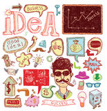 Idea and finance icons doodle set. vector illustration. Royalty Free Stock Photography