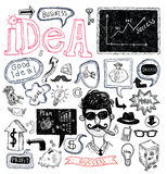 Idea and finance icons doodle set. vector illustration. Royalty Free Stock Photos