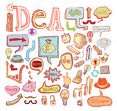Idea and finance icons doodle set. vector illustration. Stock Photos