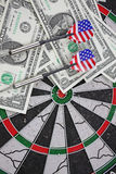 Idea of financial success - darts and dollar Stock Photography
