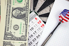 Idea of financial success - darts and dollar Stock Images