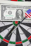 Idea of financial success - darts and dollar Stock Image