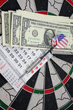 Idea of financial success - darts and dollar Stock Photos
