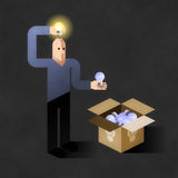 Idea Finder. Cartoon man inserting light bulbs into his head instead of another - one by one. Comic picture, illustrated metaphoric finding new ideas Royalty Free Stock Photography