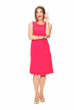 Idea. Full body portrait of woman in red dress. Royalty Free Stock Images