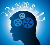 Idea generation. Vector image of a man thinking of an idea Stock Photography