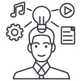 Idea generation businessman marketing plan vector line icon, sign, illustration on background, editable strokes. Idea generation businessman marketing plan Stock Images