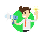 Idea generation icon with businessman Stock Photos