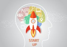 Idea generation and startup business concept. Human head with brain and gears. Infographic template. illustration. Idea generation and startup business concept Stock Photos